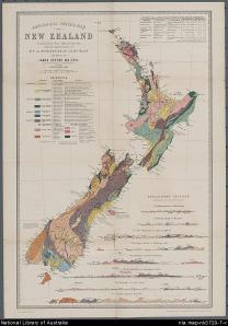 James Hector's geological map of New Zealand, 1873